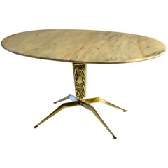 1950s Italian Oval Marble Coffee Table on Sculptural Brass Base