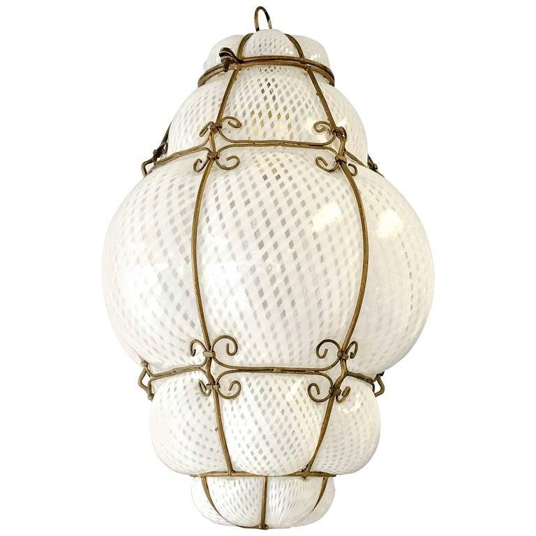 Dino Martens Murano Cage Blown Bubble Glass Lantern For Sale