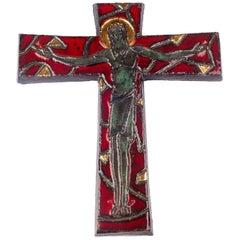 Large Gilt Wall Crucifix, Red, Green, Grey Glazed Ceramic, Handmade, Belgium