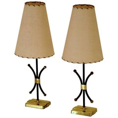 French Pair of Diminutive Table Lamps