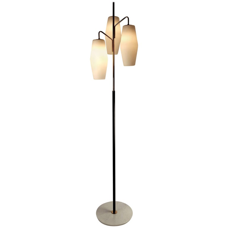 Italian Modernist Stilnovo Floor Lamp with Frosted Glass Shades and Marble Base For Sale