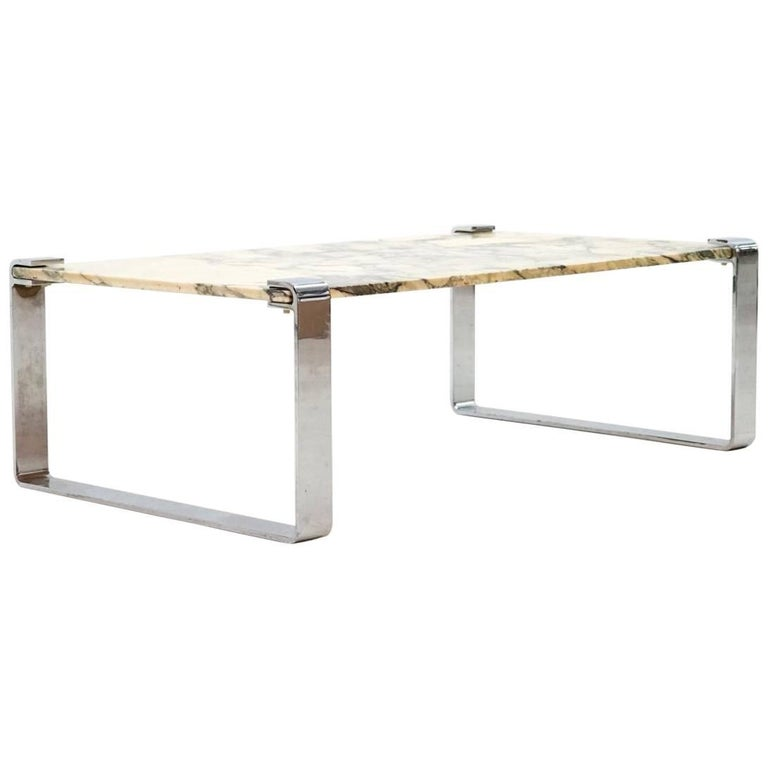 Marble And Chrome Coffee Table: Draenert Design Marble Chrome Coffee Couch Sofa Side Table