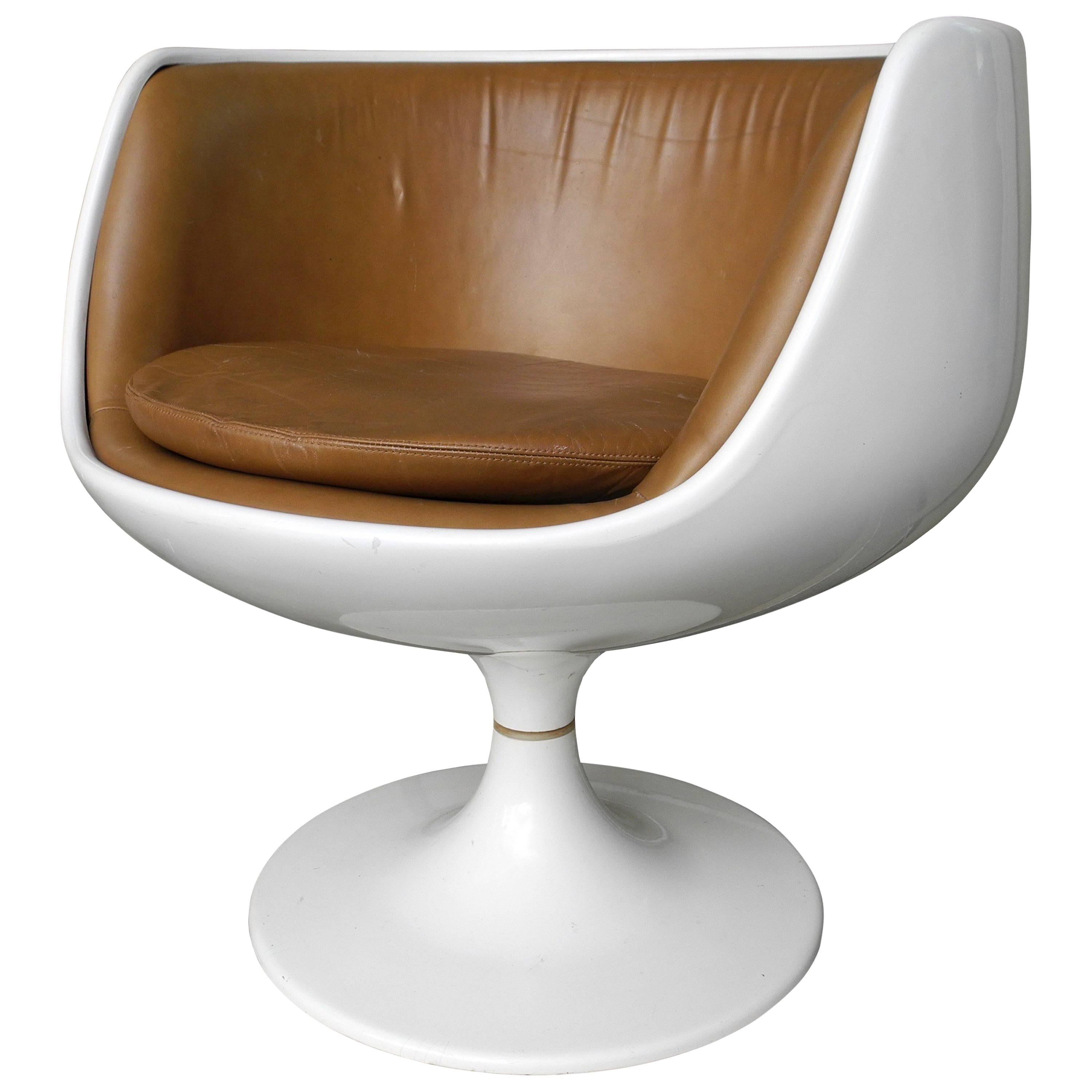 Cognac Chair With Leather Interior By Eero Aarnio For Asko, Finland, 1960s  For Sale