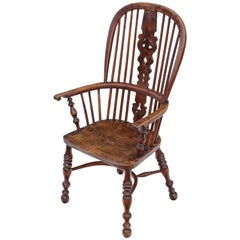 Antique Quality Victorian Yew & Elm Windsor Chair Armchair Dining, circa 1840