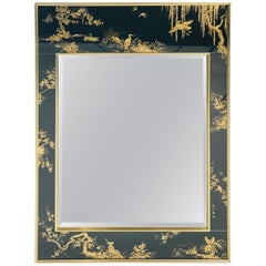 La Barge Chinoiserie Mirror, Black and Gold Large Size