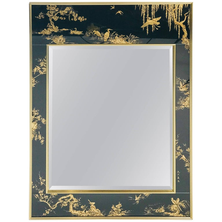 La Barge Chinoiserie Mirror, Black and Gold Large Size For Sale