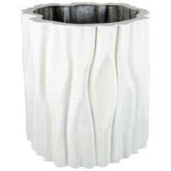 The Tree Trunk Pot Large, Cream Lacquer by Robert Kuo, Limited Edition