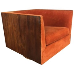 Milo Baughman Walnut Wrapped Club Chair