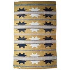 Handwoven Native American Navajo Wool Rug, 1930s