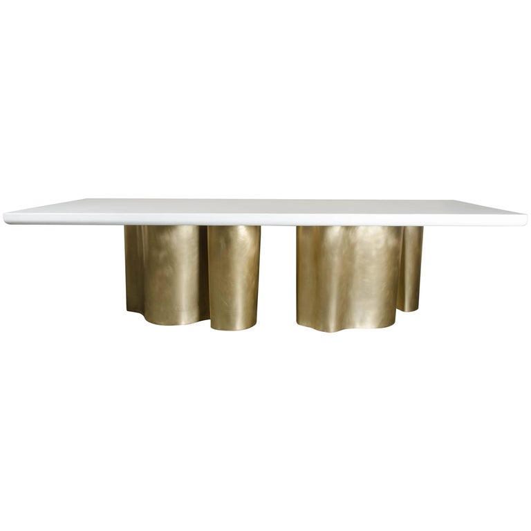 Root Dining Table Base, Brass by Robert Kuo, Limited Edition, in Stock