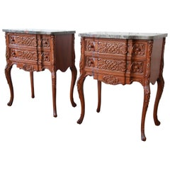 Pair of Carved French Louis XV Style Marble Top Nightstands, circa 1920