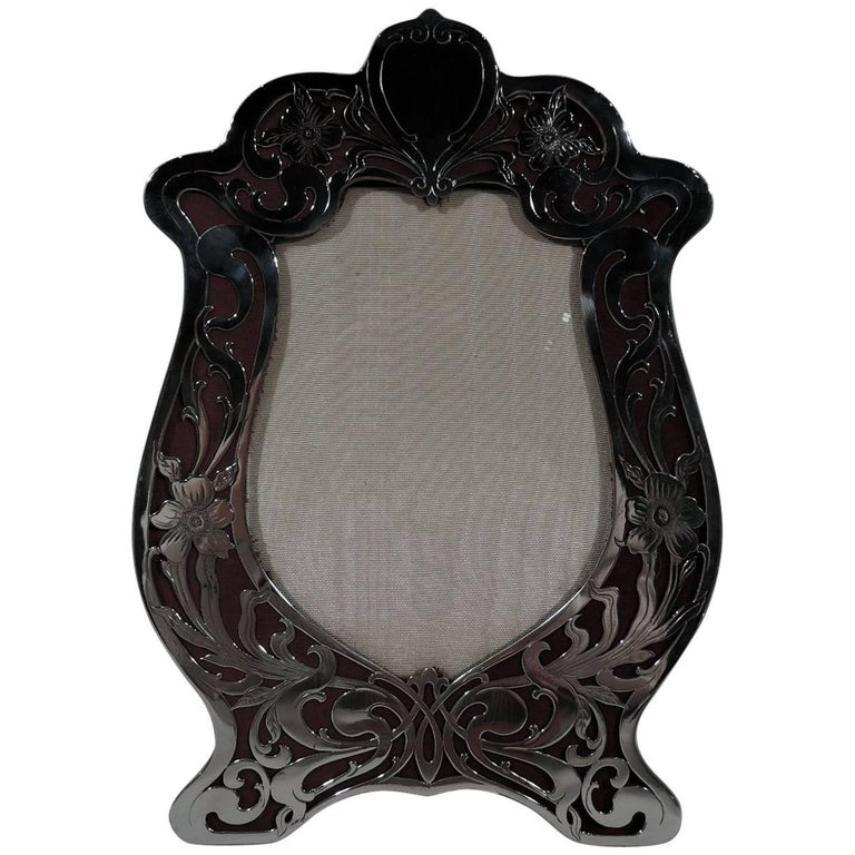 Wonderful American Art Nouveau Sterling Silver Picture Frame For Sale