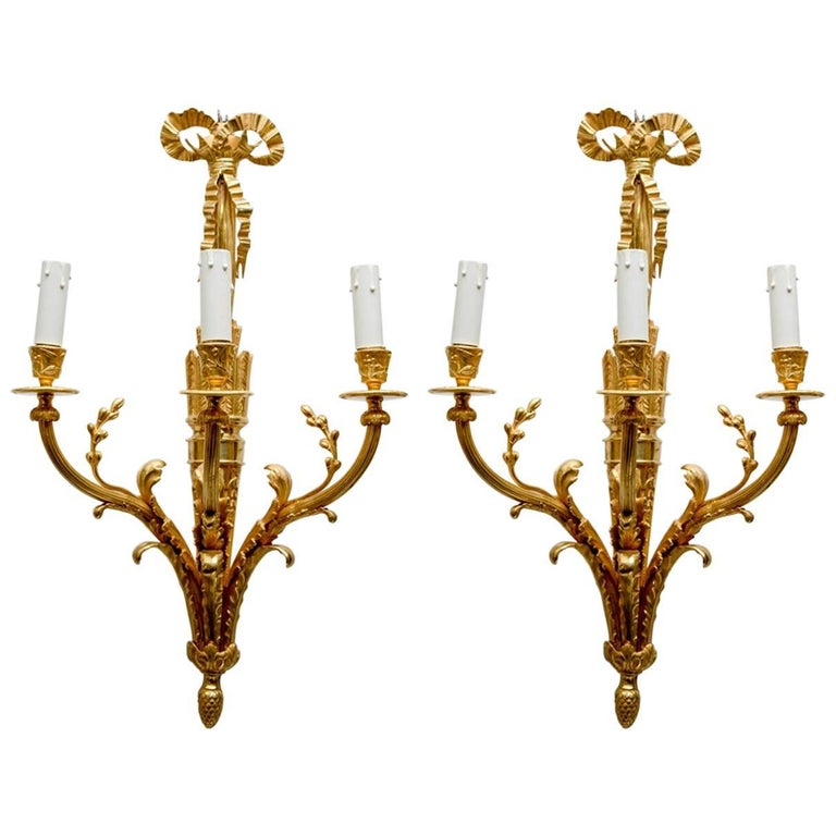 Pair of Glided Bronze Louis XVI Style Sconces
