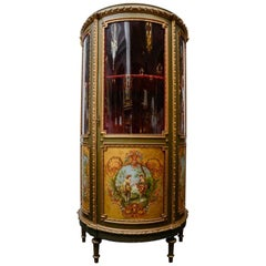 Exquisite Painted and Gilded Wood Vitrine Cabinet