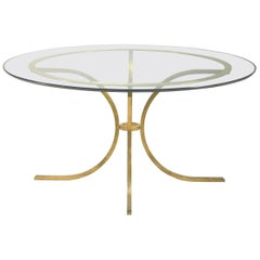 Large Glass top dining table by Robert Thibier, circa 1960