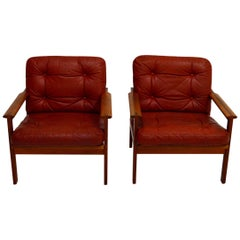 Pair of Teak Easy Chairs from Niels Eilersen Denmark by Illum Wikkelso