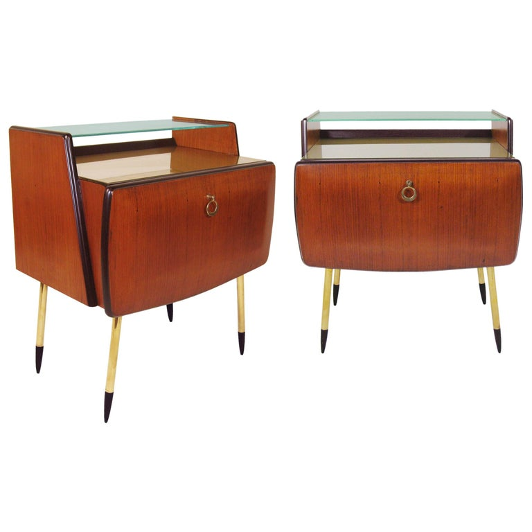 Pair of Nightstands Wood, Glass, and Brass, Italy, Signed 1957 1