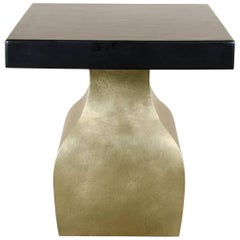 Fang Zun Table Brass & Black Lacquer by Robert Kuo, Limited Edition, in Stock