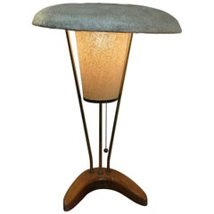 1950s Modern Table Lamp Spun Fiberglas Shade