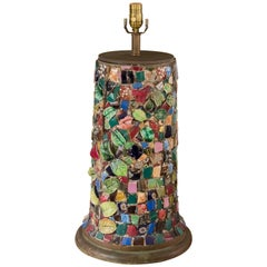 One of a Kind, Hand-Made French Pique Assiette Mosaic Table Lamp, circa 1930's