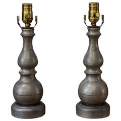 Near Pair of Vintage Classic Pewter Table Lamps