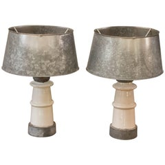 Pair of White Belgian Ceramic Table Lamps with Galvanized Shades, circa 1940s