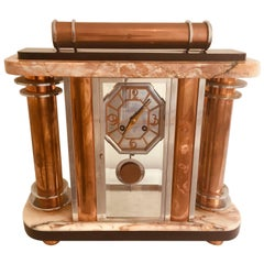 French Art Deco F. Martin Marble Mantel Clock, circa 1930s