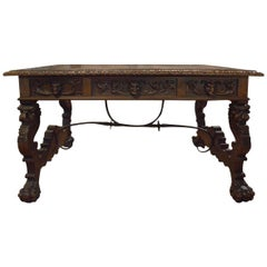 Antique Hand-Carved Walnut Trestle Desk with Inset Tooled Leather Top