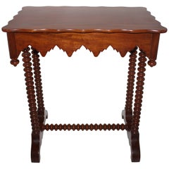 19th Century Side Table with Folky Cut Trim
