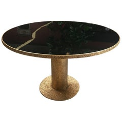 Round Brass and Glass Dining Table, Italy