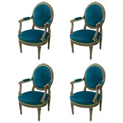 Pair of Louis XVI Style Armchairs Blue Pine Velvet