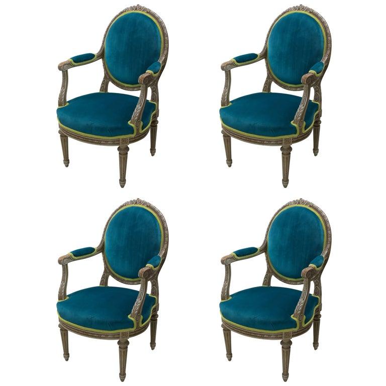 Pair of Louis XVI Style Armchairs Blue Pine Velvet For Sale