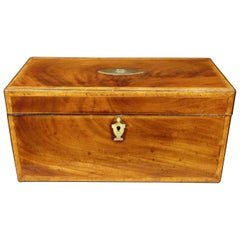 Very Fine Signed Early 19th Century Inlaid Mahogany Tea Caddy, Dated 1815