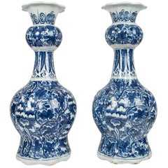 Pair Delft Blue and White Vases 18th Century