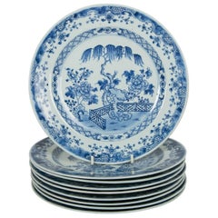 Blue and White Chinese Export Plates a Set of Ten