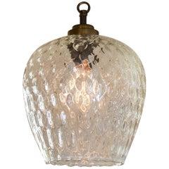One of a Kind, European Clear Textured Blown Glass Pendant, circa 1960