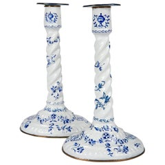 Blue and White Candlesticks 18th Century English Battersea Enamel