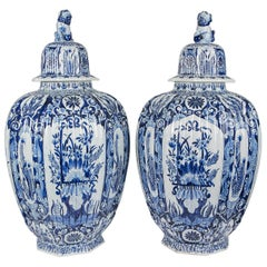Massive Pair Blue and White Delft Vases Antique Made Late 19th-Early 20th C