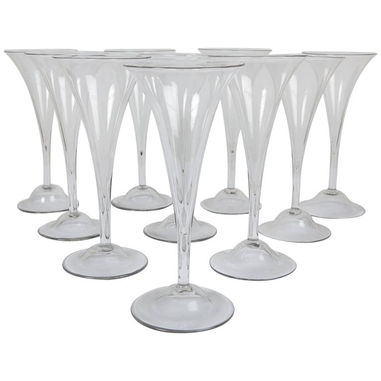 18th Century Champagne Flutes a Set of Ten Large Glasses For Sale