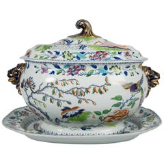 Antique Soup Tureen Flying Bird Pattern