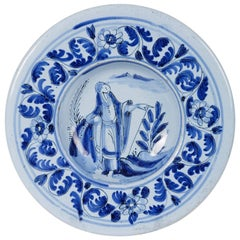 Small Blue & White Delft Dish with Figure