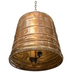 Large Rustic Hammered Copper Pendant with Two Lights