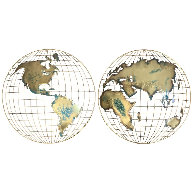 Pair of Curtis Jere Signed Globe Wall Hangings