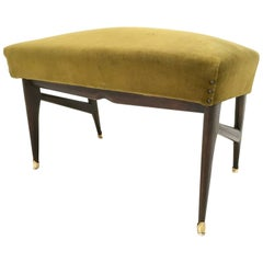 Olive Green Velvet Pouf in the Style of Ico Parisi, Italy, 1950s