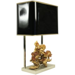 Gold Gilt Bronze Lamp with Rock Crystal from the 1970s