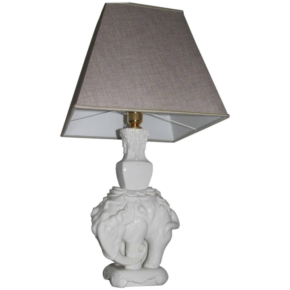 Italian Ceramic Elephant Table Lamp, 1970s Fabric dome