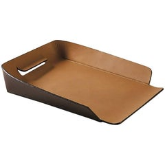 """Italo"" Leather In and Out Tray Designed by Claude Bouchard for Oscar Maschera"