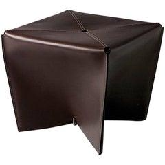 """Jimmy Sue"" Leather & Steel Pouf Designed by Claude Bouchard for Oscar Maschera"