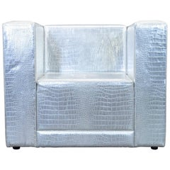Philipp Plein Designer Club Chair Leather Silver Crocodile Pattern Couch Modern