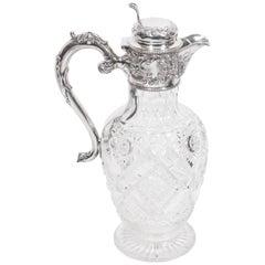 Antique Edwardian Silver Crystal Claret Jug Ewer, 1910
